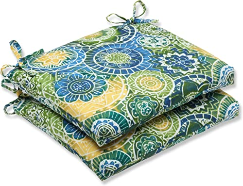 Pillow Perfect Outdoor Indoor Omnia Lagoon Square Corner Seat Cushions, 18.5 in. L X 16 in. W X 3 in. D, Blue, 2 Pack
