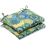 Pillow Perfect Outdoor Omnia Lagoon Squared Corners Seat Cushion, Set of 2