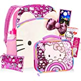 "Hello Kitty Backpack and Lunch Box Set for Kids Boys Girls ~ 8 Pc 16"" Kitty Backpack, Insulated Lunch Bag, Water Bottle…"