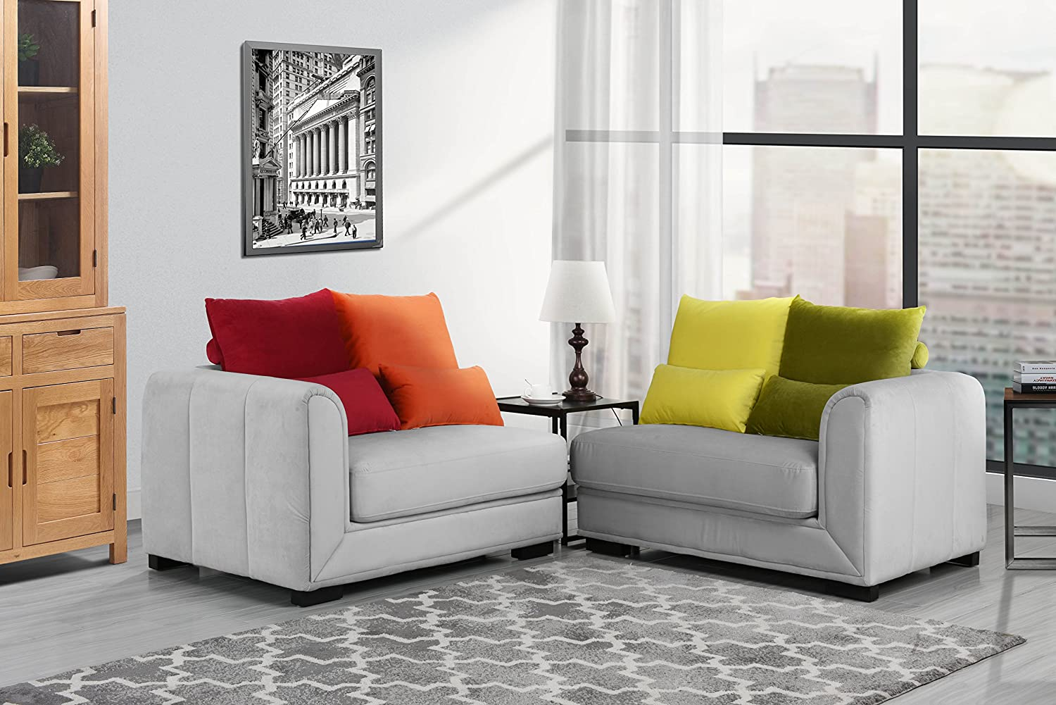 Classic 2 Piece Colorful Velvet Convertible Living Room Sofa, Adjustable Couch (Light Grey)
