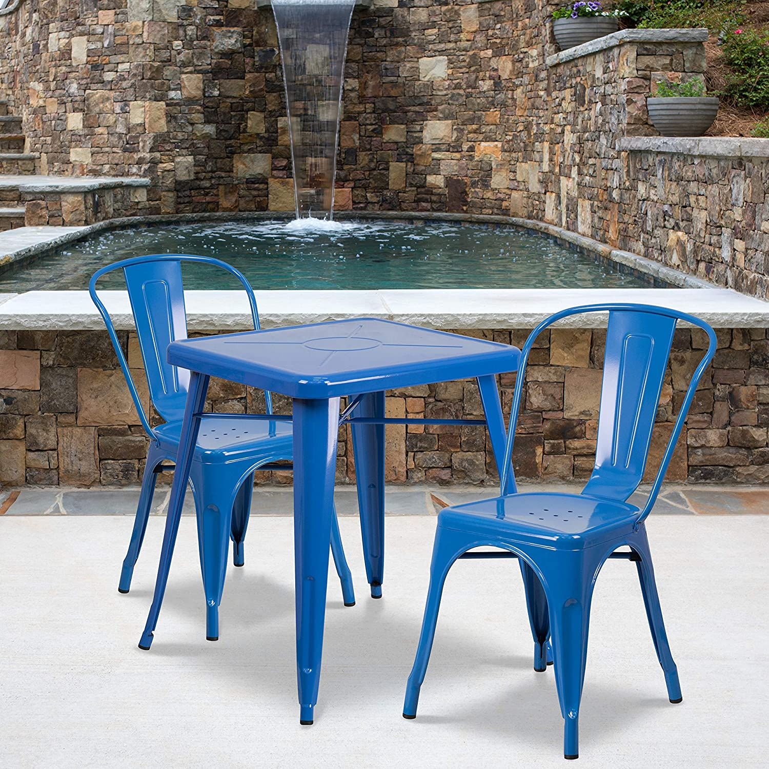 "Flash Furniture Commercial Grade 23.75"" Square Blue Metal Indoor-Outdoor Table Set with 2 Stack Chairs"