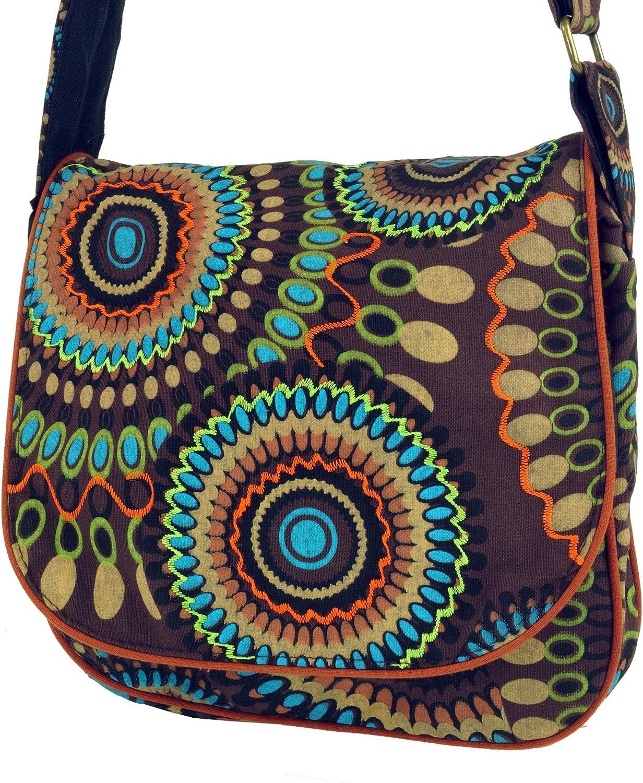 Handtasche aus Stoff Schwarz Baumwolle Hippie Tasche Herren//Damen Guru-Shop Schultertasche Alternative Umh/ängetasche 22x23x5 cm Goa Tasche