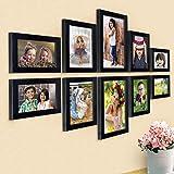 """Ajanta Royal Set of 10 Individual Photo Frames (4-4""""x6"""", 4-5""""x7"""", 2-6""""x10"""" Inch) Black : A-91A"""
