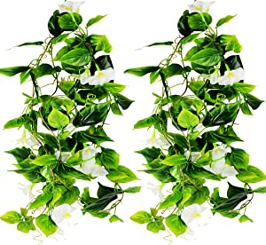AirSun Artificial Morning Glory Flower Vines, 2pcs 15Feet Hanging Plants Silk Garland Fake Green Plant Home Garden Wall Fence Indoor Outdoor Wedding Birthday Decor (White)