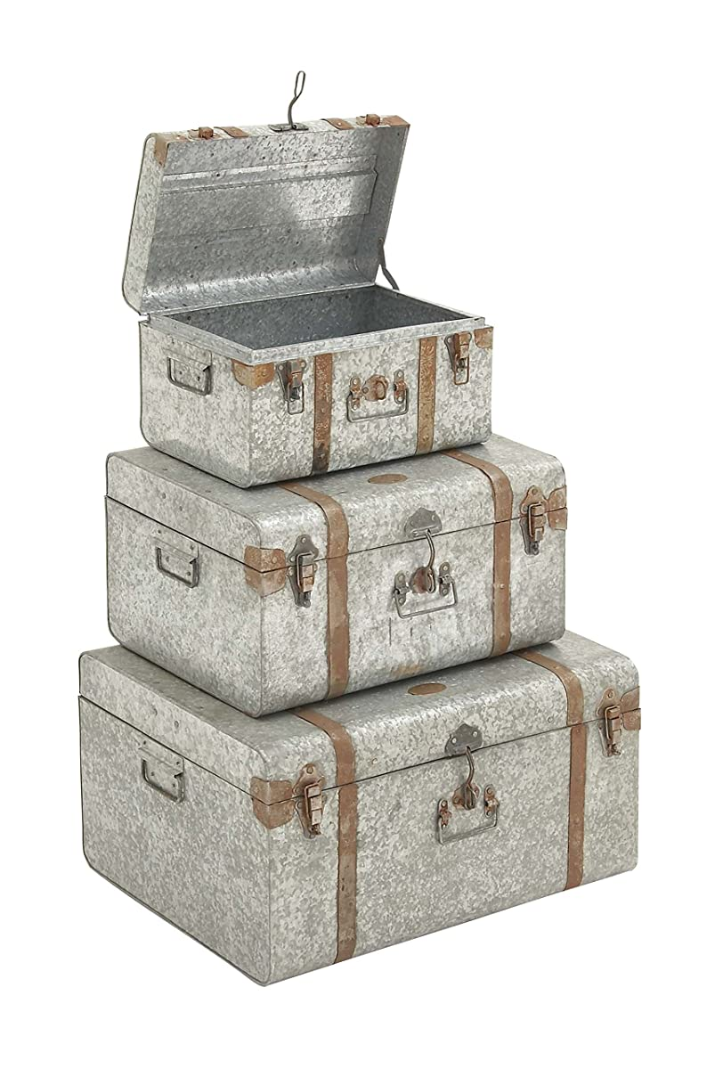 "Deco 79 38155 Galvan Metal Trunks (Set of 3), 24""/20""/16"""