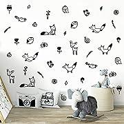 Wall Vinyl Woodland Decal 40 pcs. Nursery Decor, Original Artist Design. Adhesive Forest Stickers for Kids. Baby Nordic Fox, Deer, Owl, Birds, Bee, Raccoon, Flowers and Plants Bedroom Decoration.