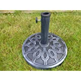 Grey 9kg Garden Parasol Umbrella Base For 2m 2.5m 2.7m Parasols 35 38 48mm Pole