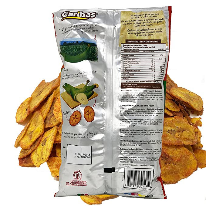 Amazon.com : Caribas Plantain Chips: Fried Plantain Chips With Chili and Lime| Source Of Fiber | No Preservatives | 135 g (4.7 ounces) 6 pack : Grocery ...