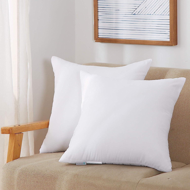"Acanva Hypoallergenic Pillow Insert Form Cushion Euro Sham 20/"" L x 20/"" Square"