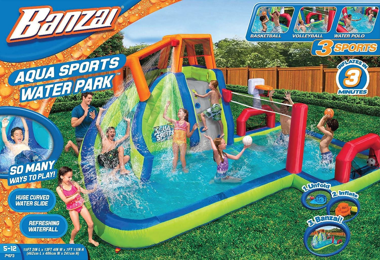 amazon com banzai aqua sports inflatable water park toys u0026 games