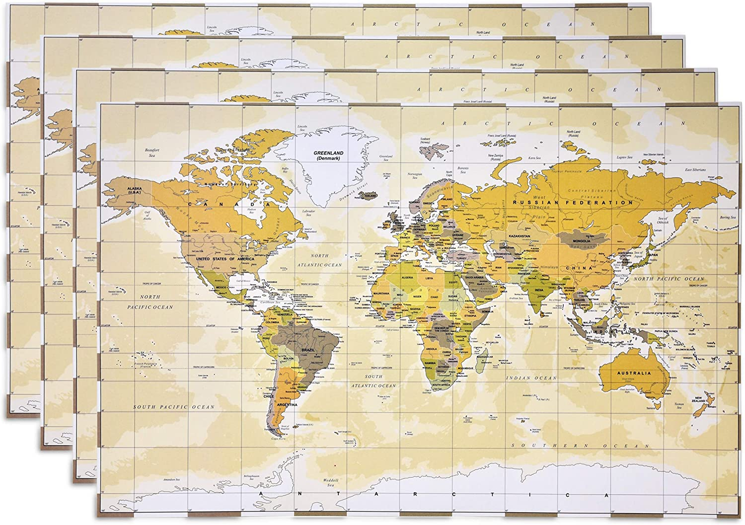 """Disposable World Map Paper Place Mats 50 Pack 11"""" x 17"""" Rectangle Shaped Globe Travel Adventure Chargers Placemats for Geography Learning Education Traveler Themed Crafts Dinner Party Table Decor"""