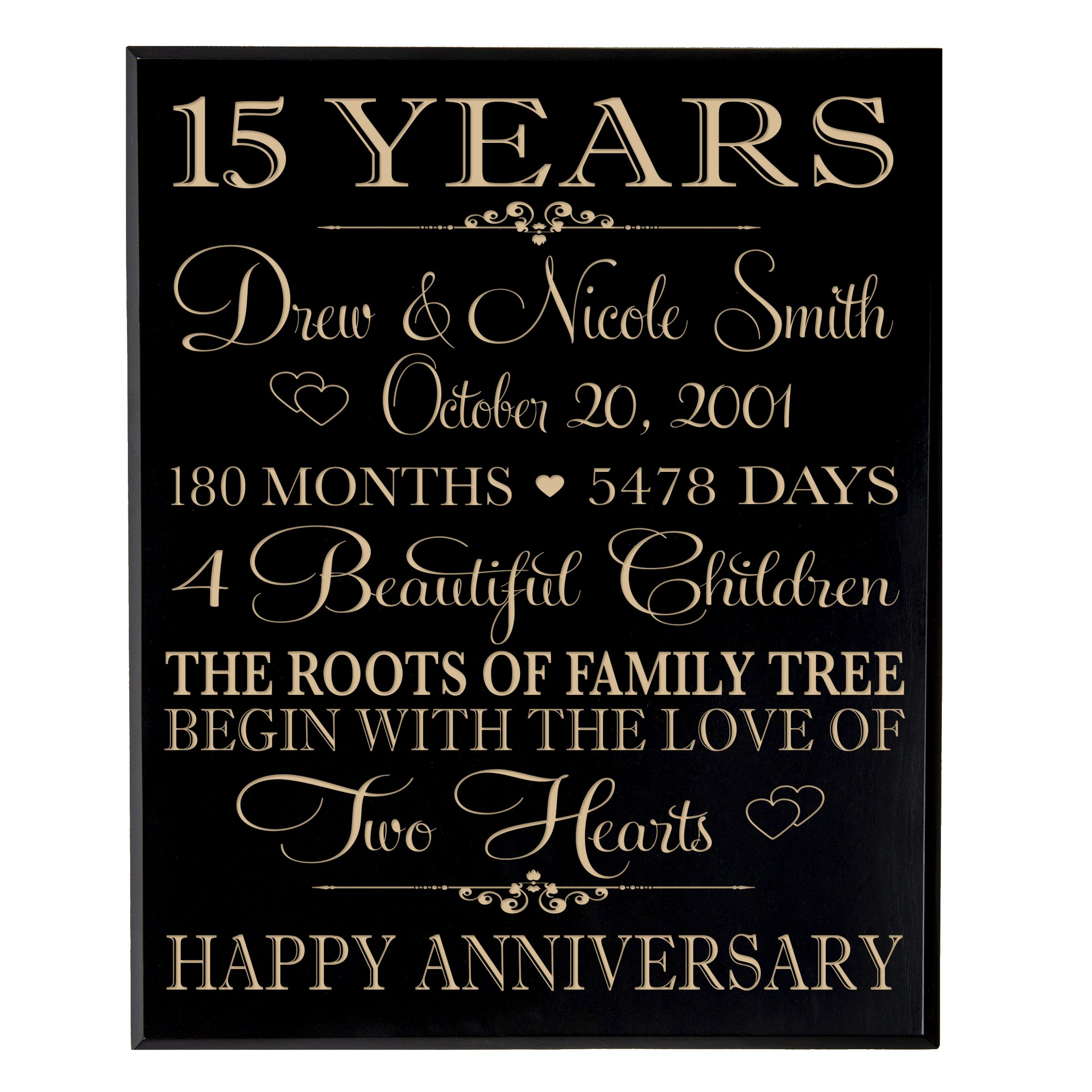LifeSong Milestones Personalized 15 Year for Couple, 15th Wedding Gift Ideas for Her and him,Custom Engraved Established Family Dates Sign (Black Maple Veneer Wood)