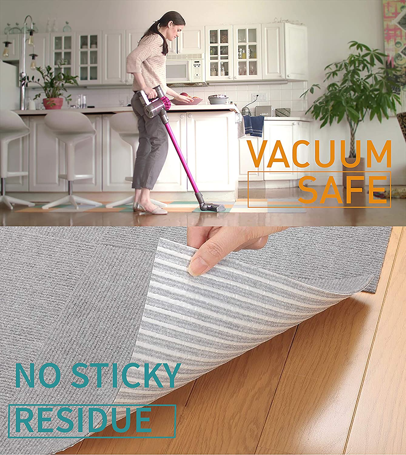 "Triluc Carpet Tiles Peel and Stick - Multi-Purpose Floor Mat for Home and Pets, Non-Slip, Vacuum Safe, Machine Washable Pet Mat, 12"" x 12"" - -"