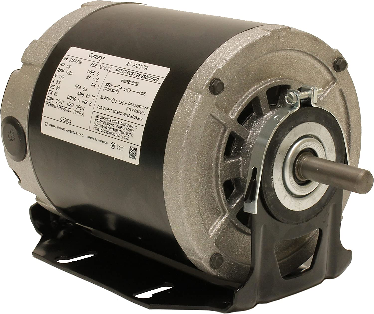 A.O. Smith GF2034 Century Resilient Base Split Phase Electric Motor, 115 Vac, 6.8 A, 1/3 Hp, 1725 Rpm - Electric Fan Motors -