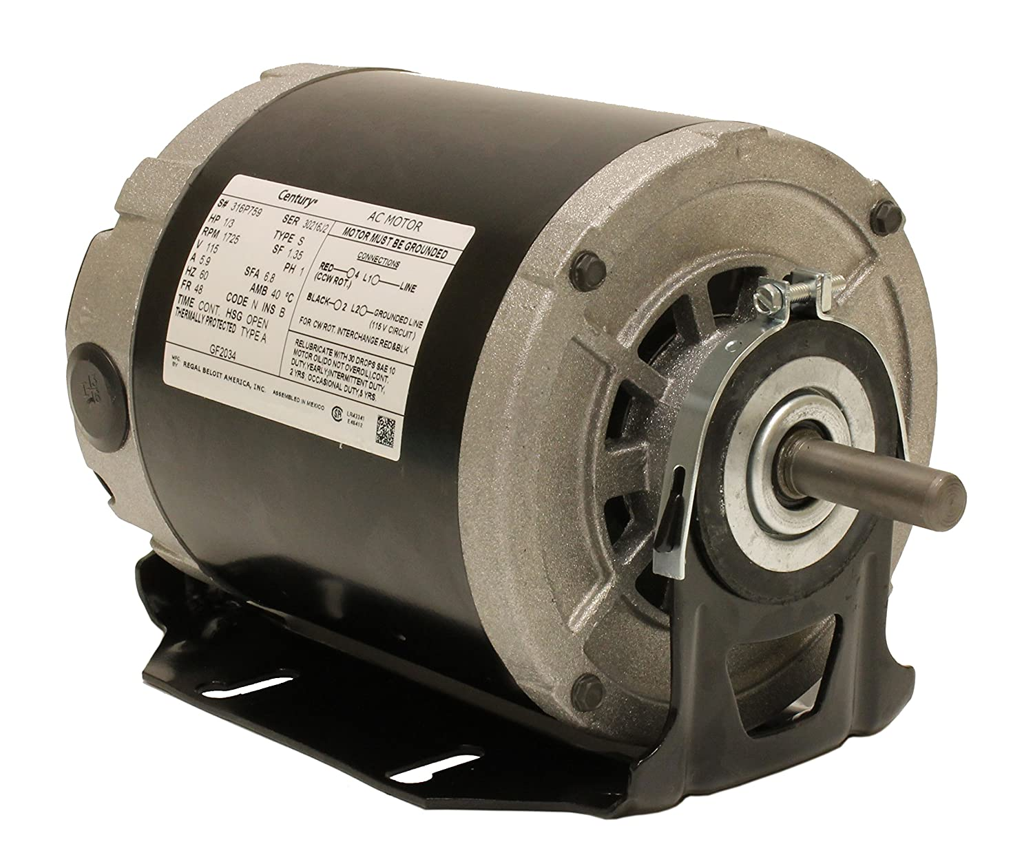 A.O. Smith GF2034 Century Resilient Base Split Phase Electric Motor, 115 Vac, 6.8 A, 1/3 Hp, 1725 Rpm