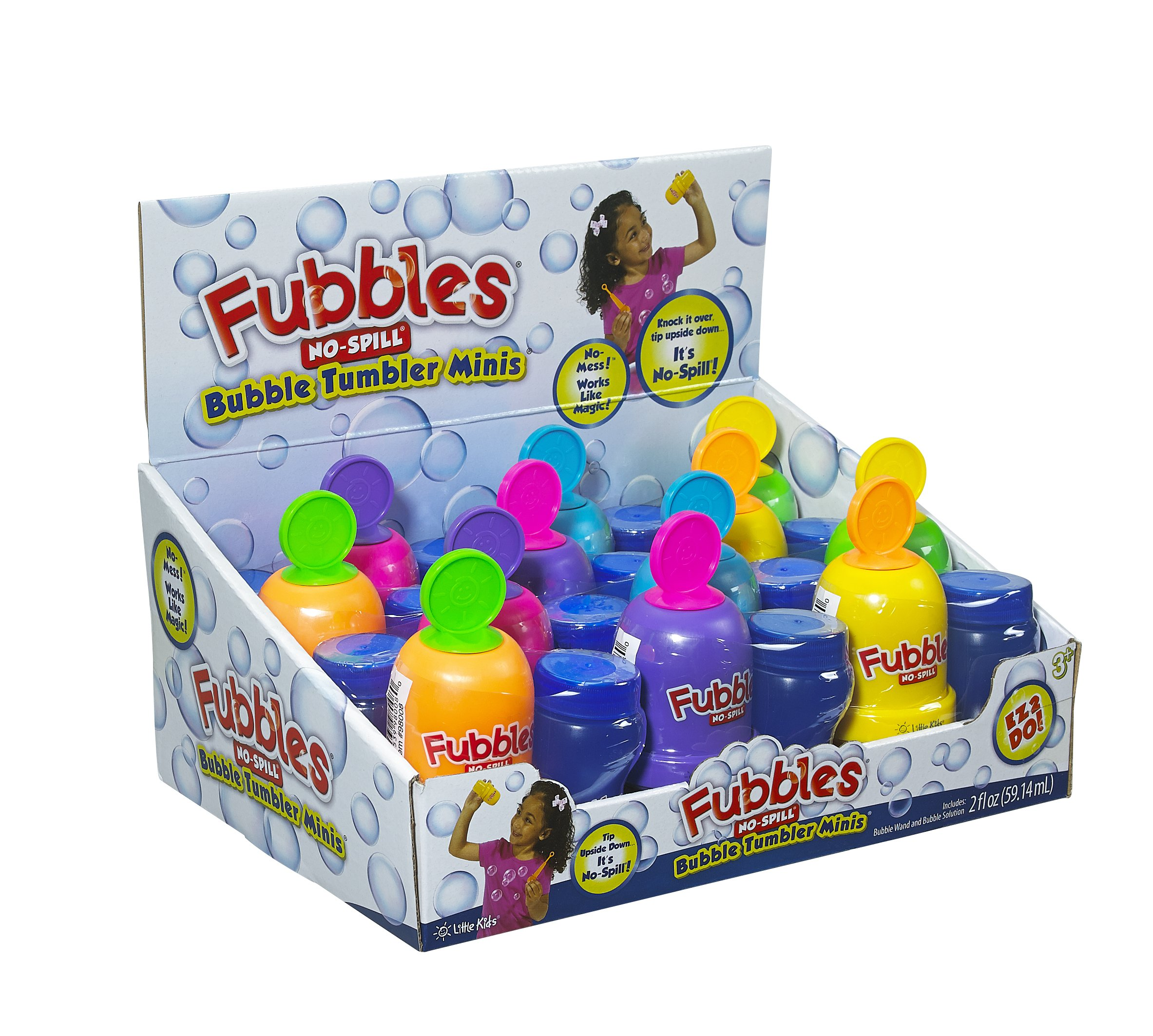 Little Kids Fubbles No-Spill Bubble Tumbler Minis Party Favor 12 pack, Includes 2oz bubble solution and a wand per bottle (assorted colors)