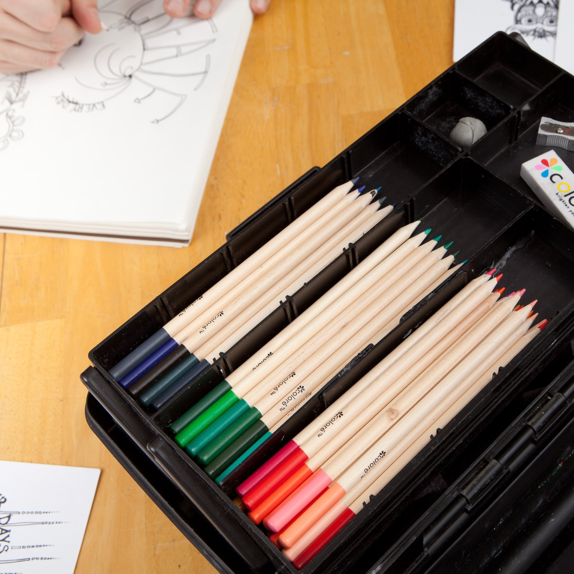 Colored Pencils Pre-Sharpened Colored Pencil Set with Eraser and Sharpener (60-Piece) by Colored Pencils (Image #9)