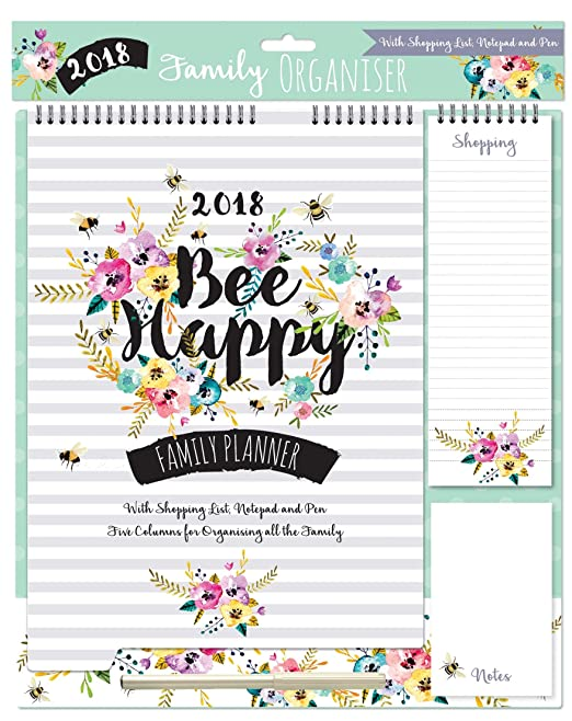 5 opinioni per 2018 Family organizer Calendario Memo Pad, penna Shopping List- floreale con API