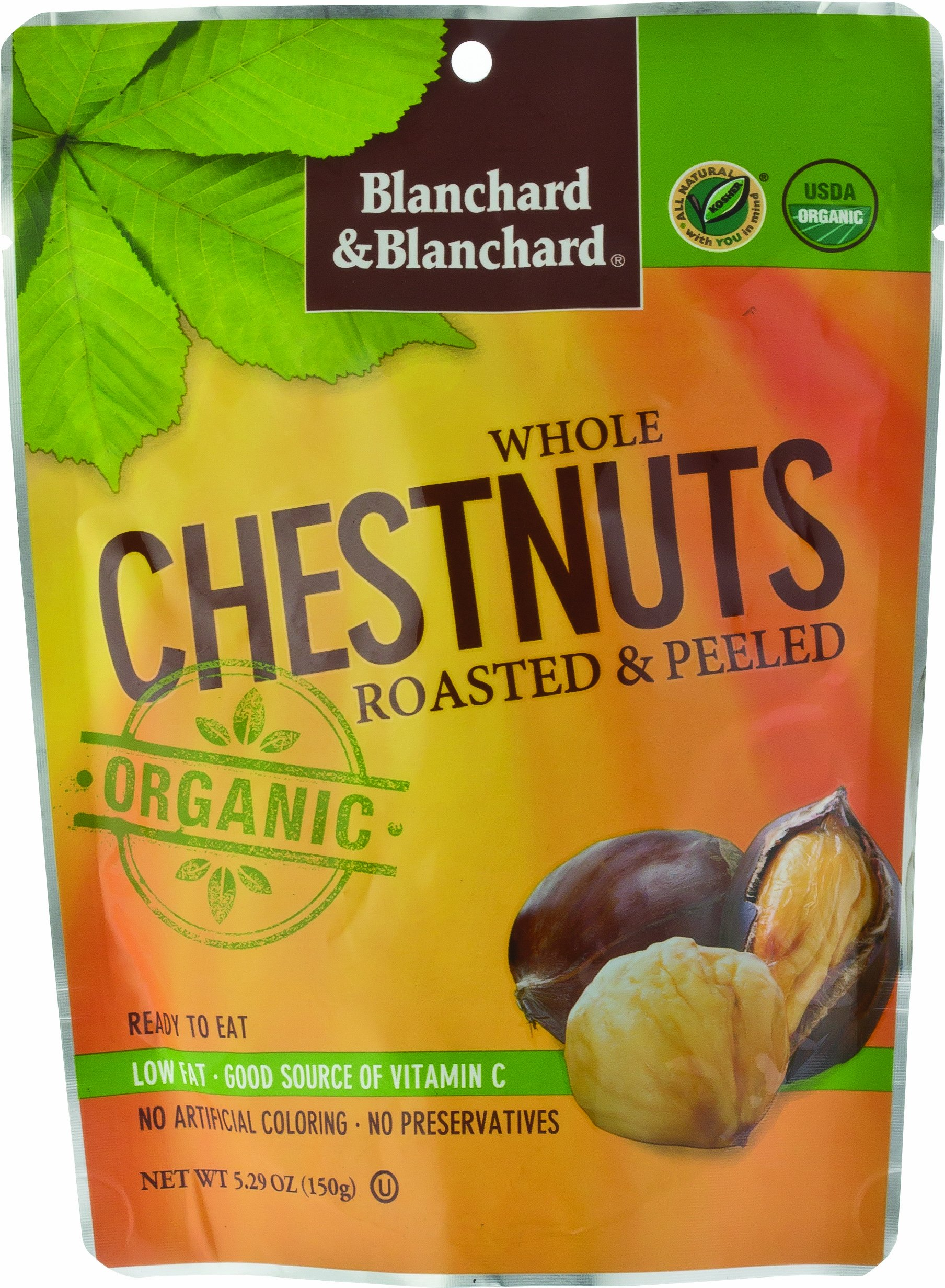 Whole Chestnuts Roasted & Peeled (Organic) 5.29oz 6 Pack by Blanchard & Blanchard