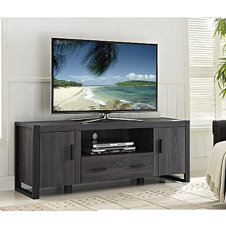 Amazon Com Phunovia 60 Charcoal Grey Wood Tv Stand Console