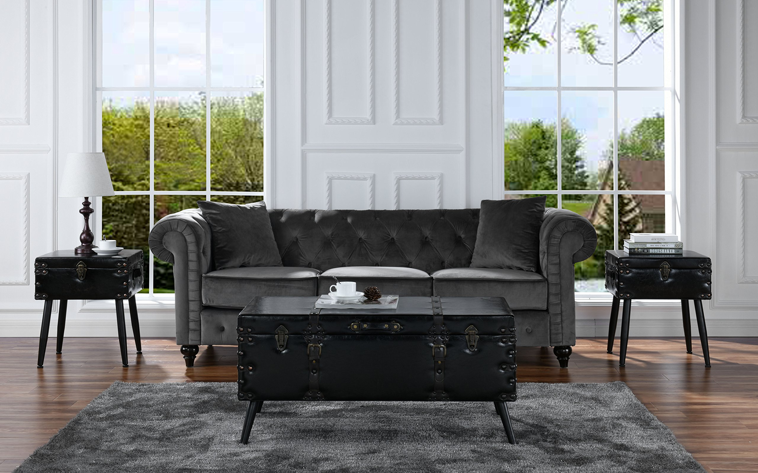 3 Piece Faux Leather Upholstered Coffee and Side Tables Living Room Set (Espresso)