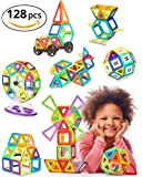 Magnetic Blocks - 128 pcs Large Set & Storage Box - 3D Building Educational Toys for Boys and Girls - Great for 3+ Years Old Toddlers and Kids - Tiles with Innovative Build Magnets - Great Gift!