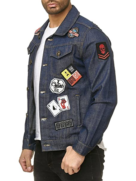 Redbridge Uomo Manica Lunga Giacca di Jeans Biker Jackets Trucker Patches Cappotto