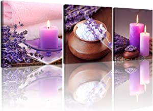 NAN Wind Zen Canvas Wall Art Spa Still Life With Purple Aromatherapy Candles And Zen Stone Aroma Lavender Flower Painting Pictures Print on Canvas Ready to Hang for Bathroom Decoration