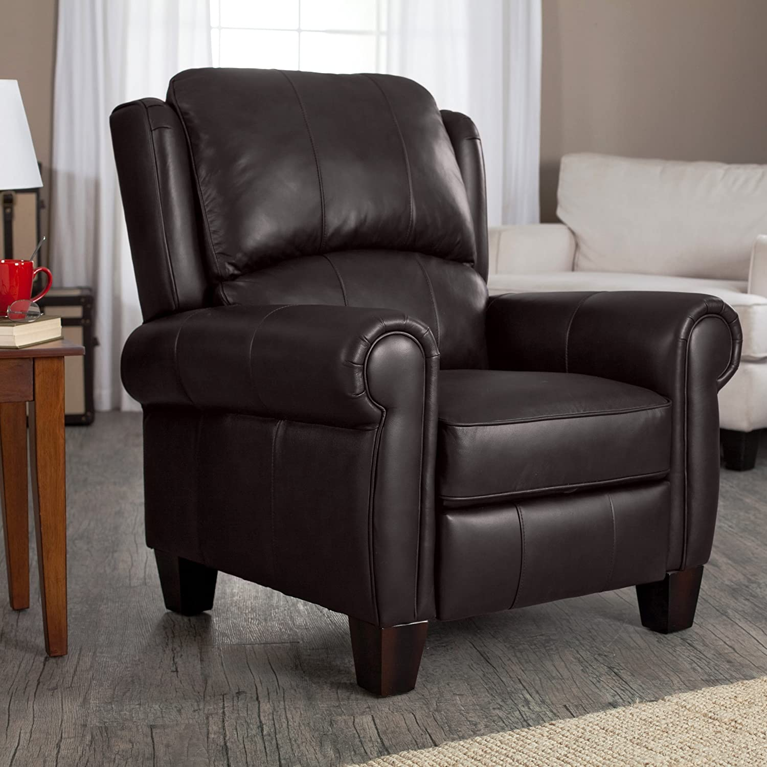 Amazon com brown leather recliner living room furniture barcalounger office chair recliners charleston wingback buy today kitchen dining