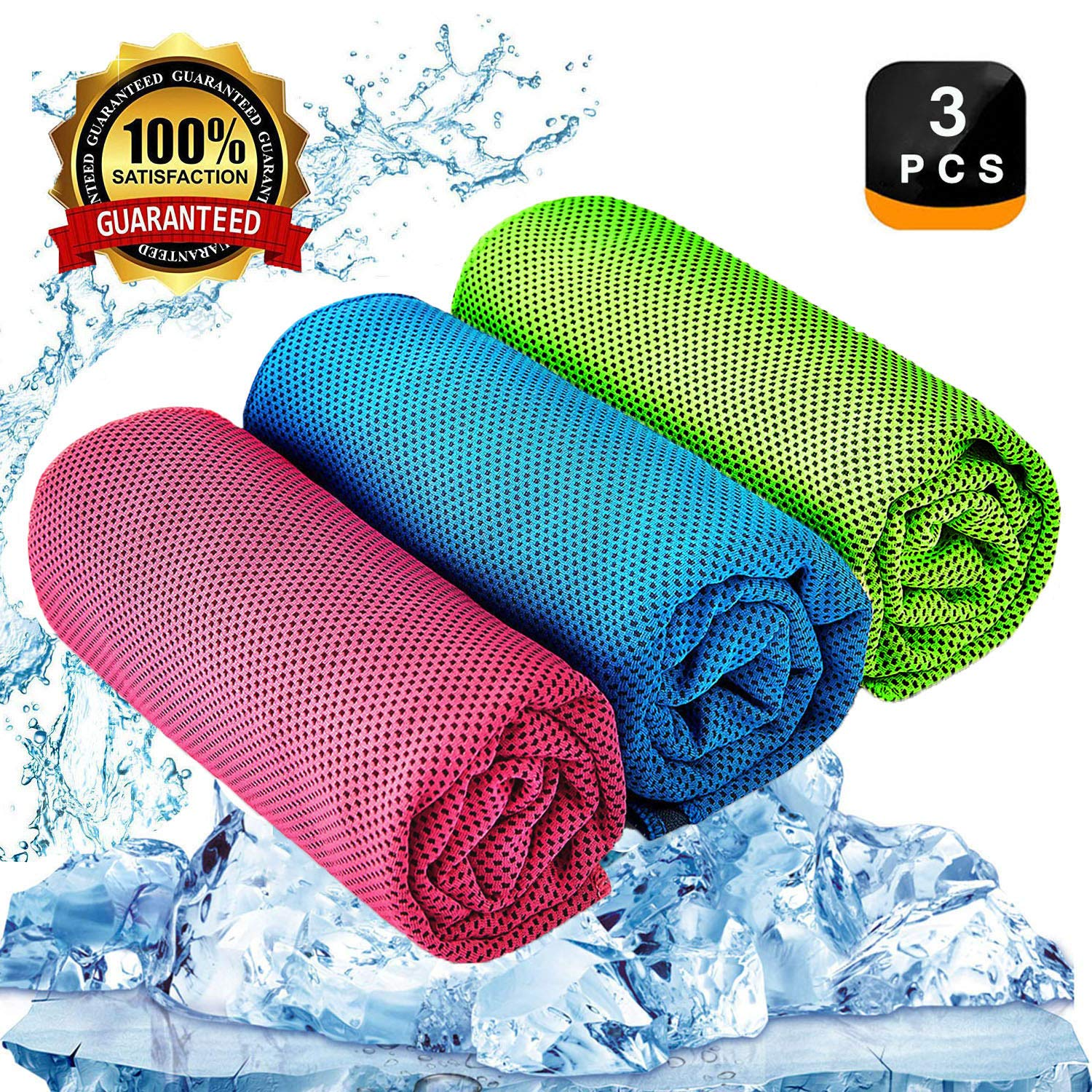 YQXCC Cooling Towel 3 Pcs (47''x12'') Microfiber Towel for Instant Cooling Relief, Cool Cold Towel for Yoga Golf Travel Gym Sports Camping Football & Outdoor Sports (Light Blue/Green/Rose Red) by YQXCC