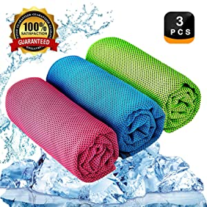 "YQXCC Cooling Towel 3 Pcs (47""x12"") Microfiber Towel for Instant Cooling Relief, Cool Cold Towel for Yoga Golf Travel Gym Sport Camping Football & Outdoor Sports"