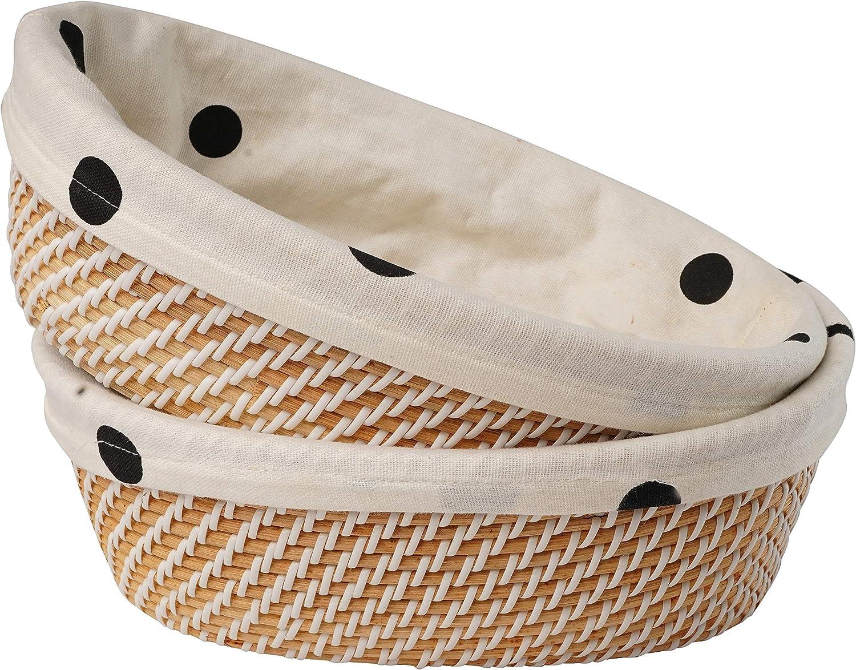 Aviboo Oval Rattan Plastic Wicker Bread Basket, Pantry Basket, Fruit Basket, Kitchen Storage, Tabletop Food Fruit Vegetables Serving Basket, Restaurant Serving, Stackable Basket (2)