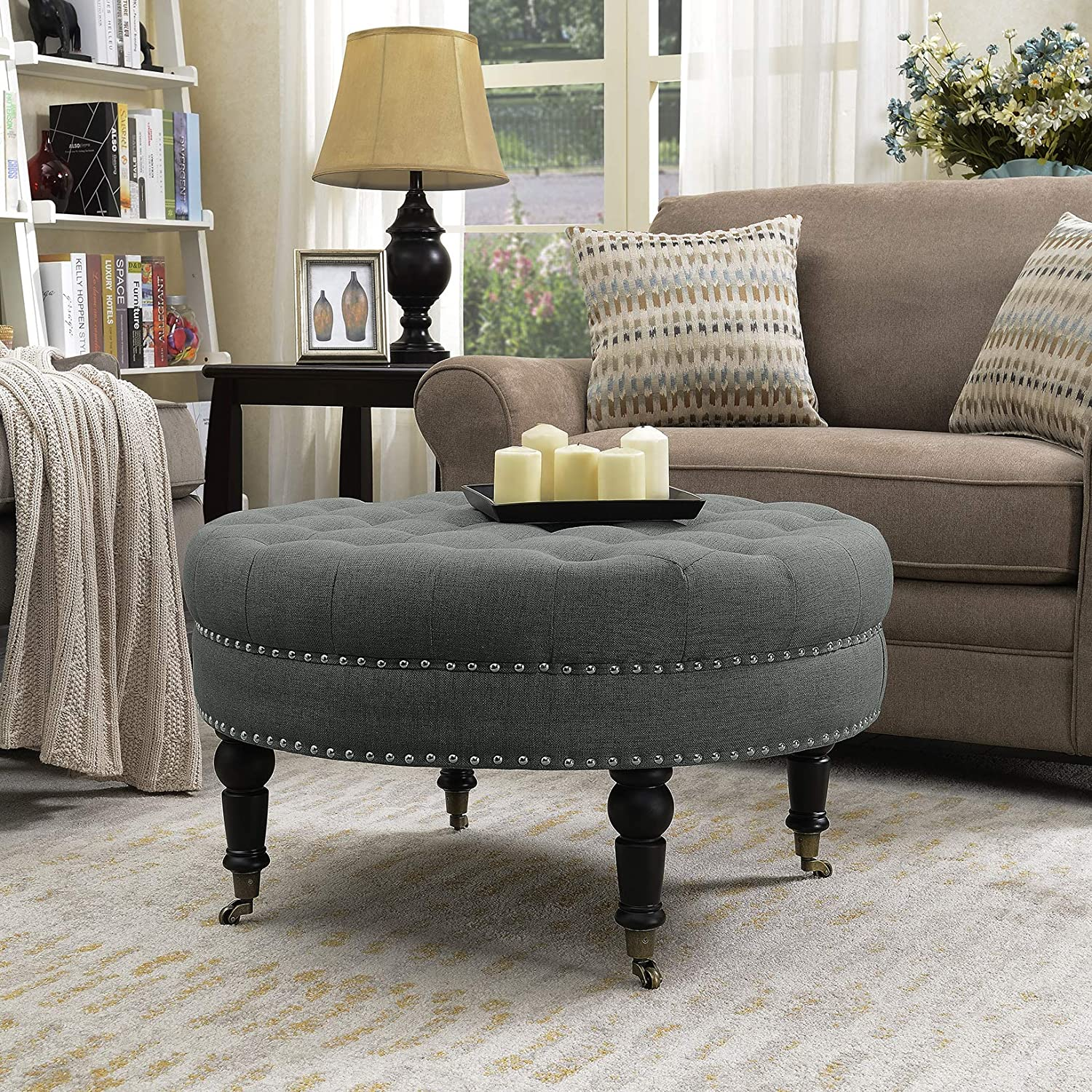 Belleze 33 inch Round Tufted Linen Ottoman Large Footstool Cocktail with Caster, Gray