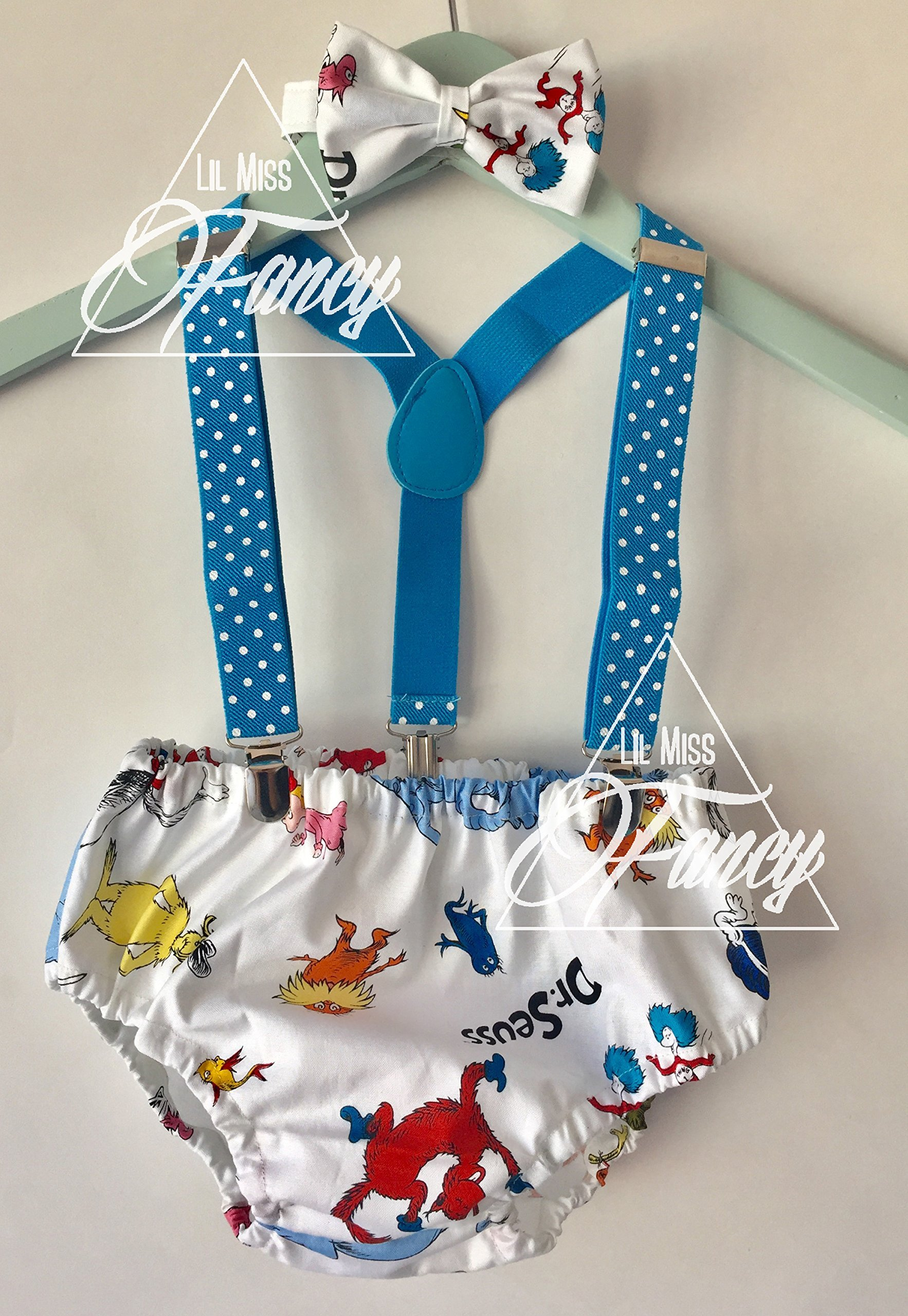 Dr Seuss Boys Suspenders Cake Smash with Bow Tie and optional Party Hat