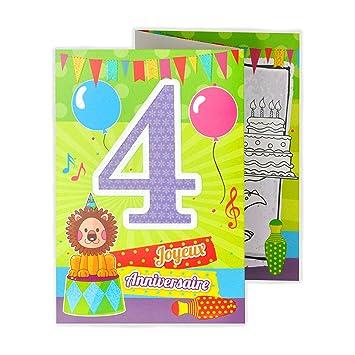 Afie 882104 Carte 3 Volets Joyeux Anniversaire 4 Ans Amazon Fr
