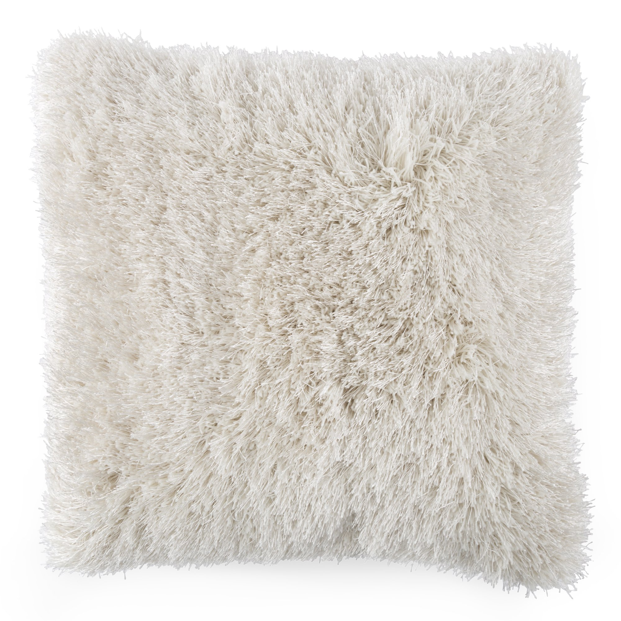 Lavish Home Oversized Floor or Throw Pillow Square Luxury Plush- Shag Faux Fur Glam Decor Cushion for Bedroom Living Room or Dorm (Beige)