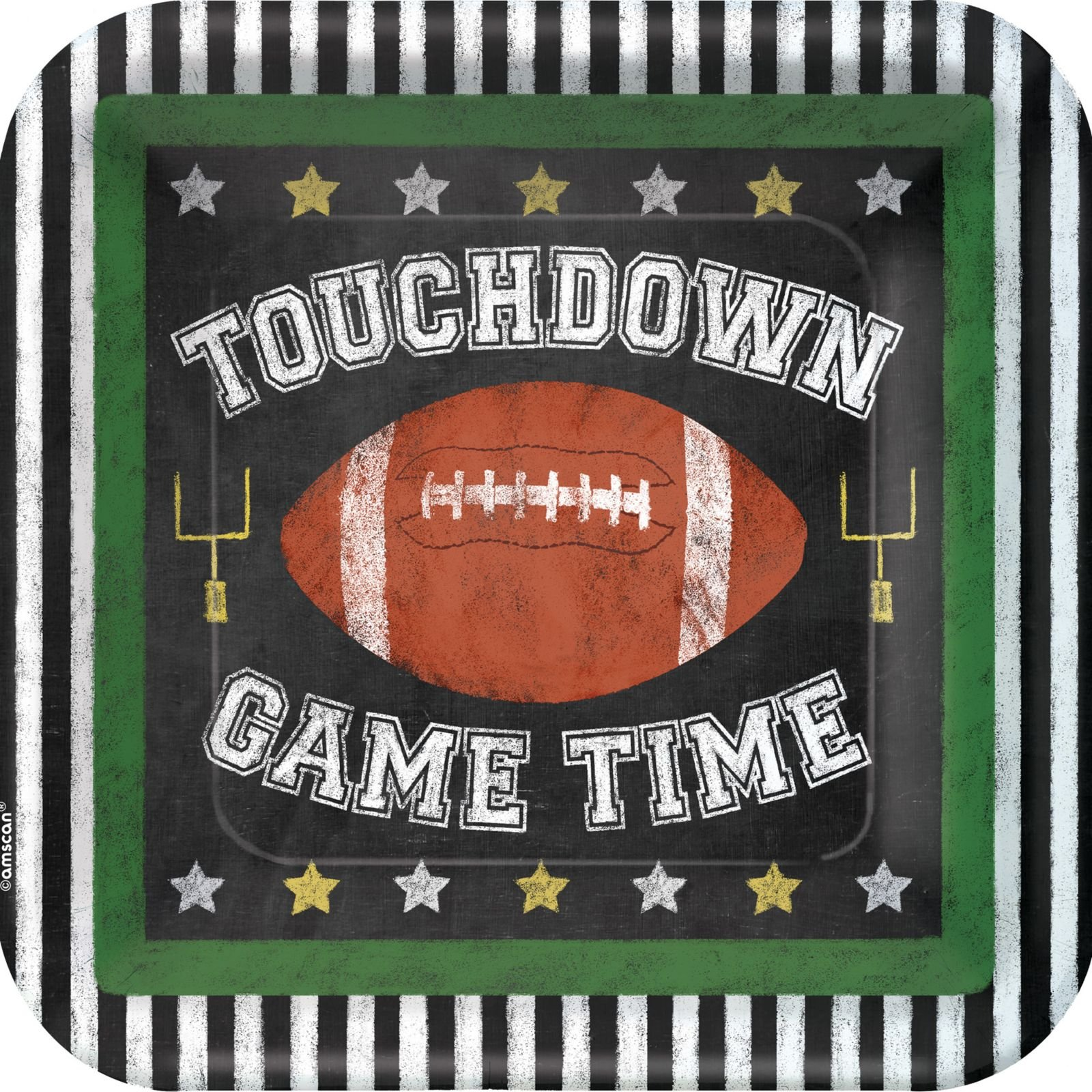 Amscan Football Game Time 9'' Lunch Plates, Black White Brown, 18 CT