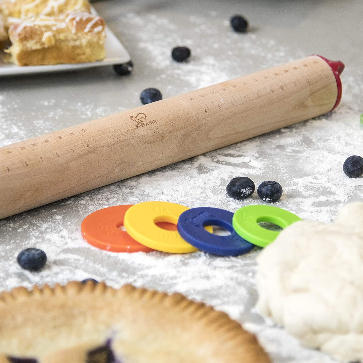 Kitchen Basix Adjustable Rolling Pin Multicolored Removable Rings Beech Wood Classic Baking Dough Pizza Pie Cookies