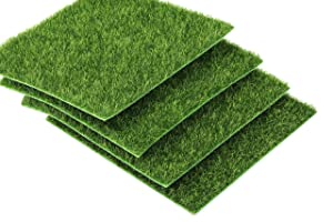 "I-MART 6""X6"" Fake Grass for Dollhouse Miniatures Garden, Artificial Grass for Crafts Decoration, Mini House Sum Lawn Ornaments (Pack of 4)"