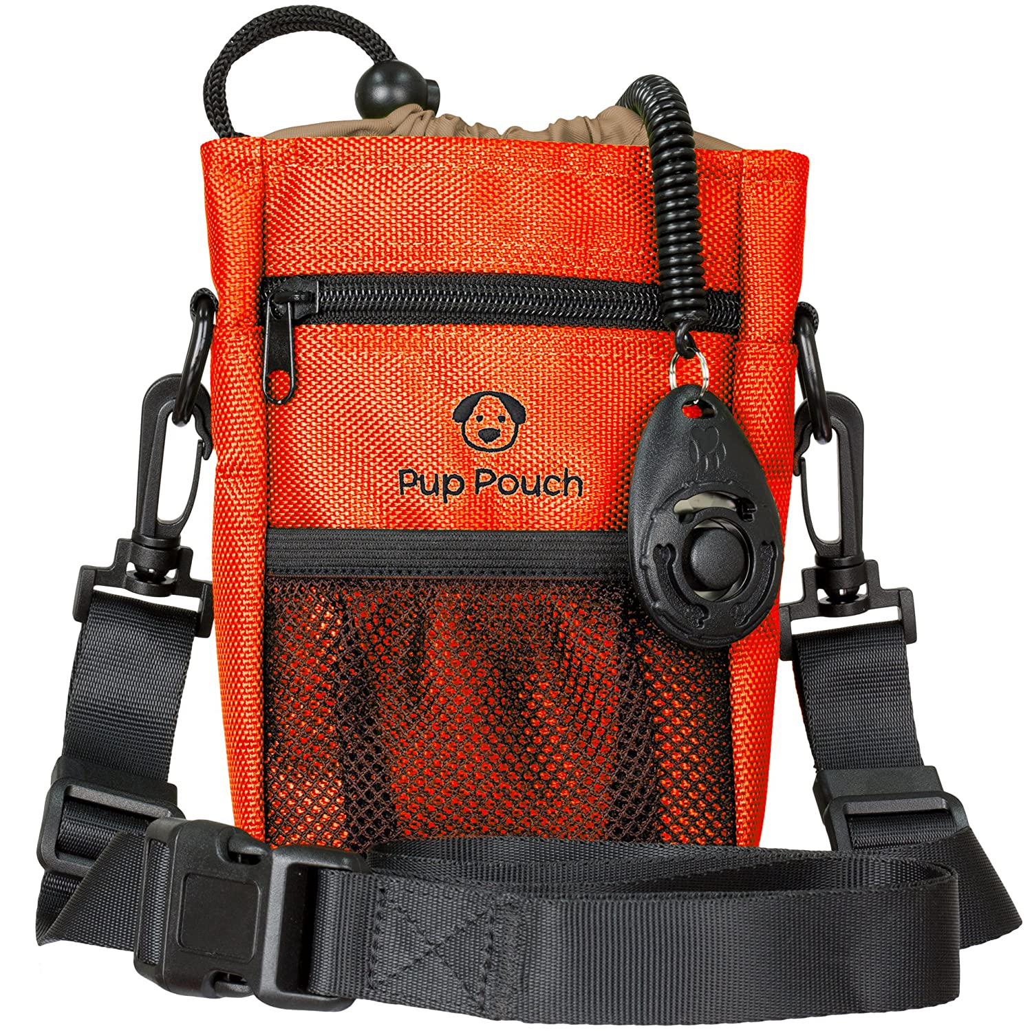 Dog Clicker Treat Walking Training Pouch Bag Bonus Clicker Trainer - Built-in Double Poop Bag Dispenser, Drawstring Closure - Carries Balls, Toys, Treats - 3 Ways to Wear - Burnt Orange Bloomberry Supply