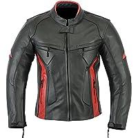 Jaqueta masculina motociclista estilo armadura esportes de couro preta vermelha LJ-1704.