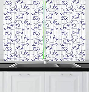 Ambesonne Anchor Kitchen Curtains, Hand Drawn Anchors and Entangled Ropes Nautical Equipment Artwork Monochrome, Window Drapes 2 Panel Set for Kitchen Cafe, 55 W X 39 L Inches, Navy Blue White