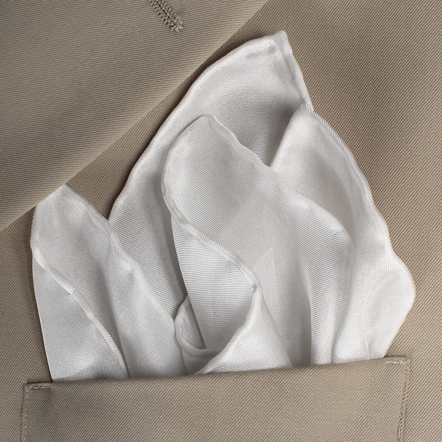 "White Silk Tuxedo Pocket Square with Hand-rolled Edges by ROYAL SILK 17/"" Square"
