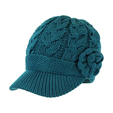 2757d4d54 Teal Chunky Cable Knit Beanie Hat w/ Rosette Flower & Visor Brim ...