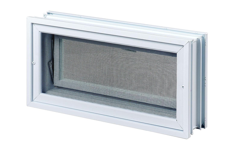 mit Fliegengitter FUCHS L/üftungsfenster anstatt 3 Glassteine im Format 19x19x8 cm