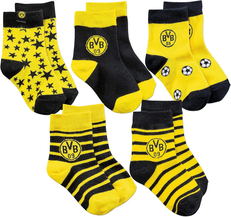 Gr 32-35 5er-Pack Borussia Dortmund BVB Fanartikel Kindersocken