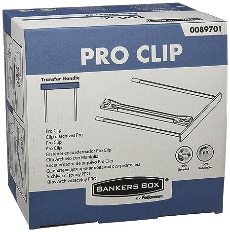 Bankers Box CRC 00897 - Fasteners de plástico Pro clip, 100 mm, blanco