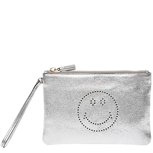 Anya Hindmarch Woman Metallic Perforated Textured-leather Pouch Silver Size Anya Hindmarch IKI1YAifcn