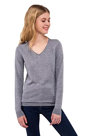 6b34cc1f1217ae Women's Pure Merino Wool V Neck Sweater Long Sleeve Pullover Top (Gray  Melange,X