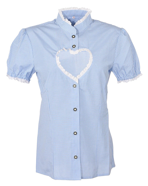 Trachtenbluse Damen, Bluse mit Herzauschnitt Helen blau